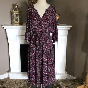 Gap Red/Multi Floral Belted Peasant Dress